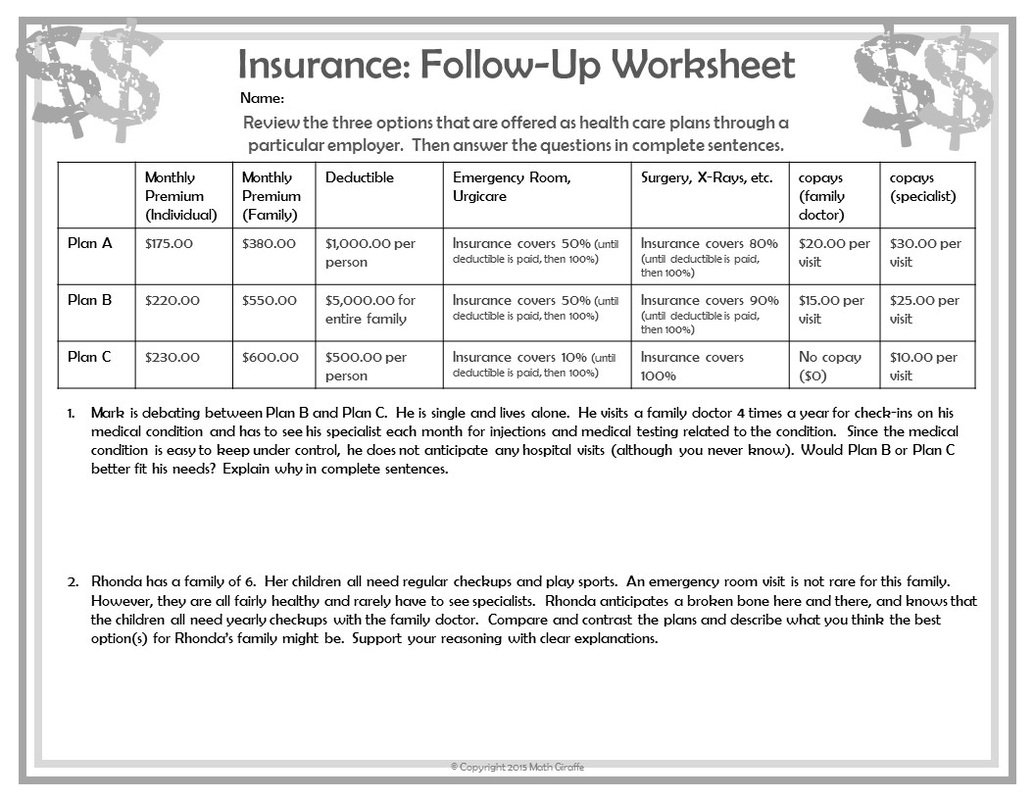 Personal Finance Worksheets For Highschool Students  Personal Along With Personal Finance High School Worksheets