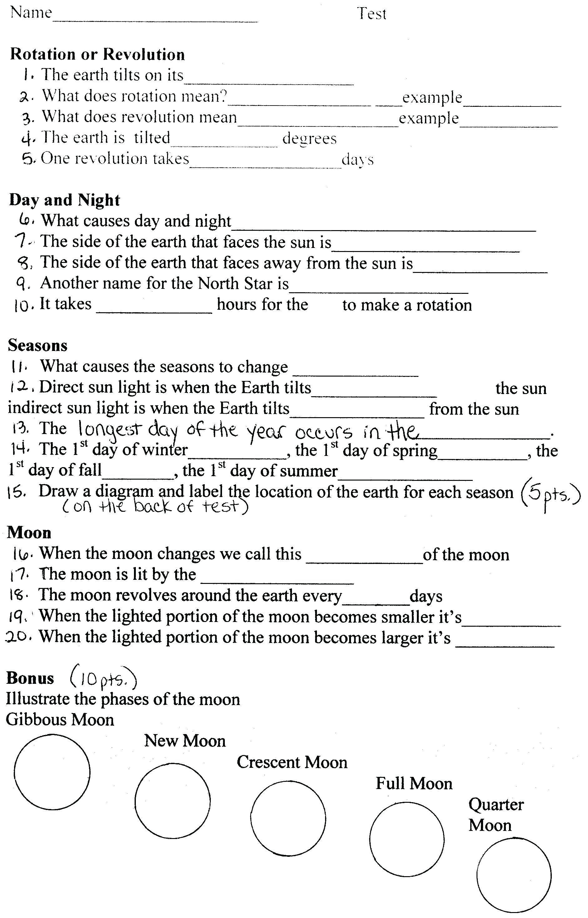 Phases Of The Moon Printable Worksheets  Yooob For Phases Of The Moon Printable Worksheets