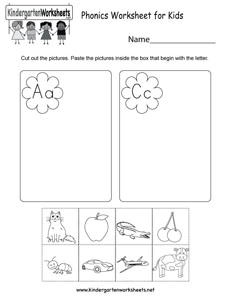 Phonics Worksheet For Kids  Free Kindergarten English Worksheet For Also Kindergarten Phonics Worksheets
