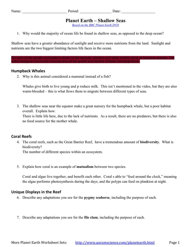 Planet Earth Along With Planet Earth Ocean Deep Worksheet
