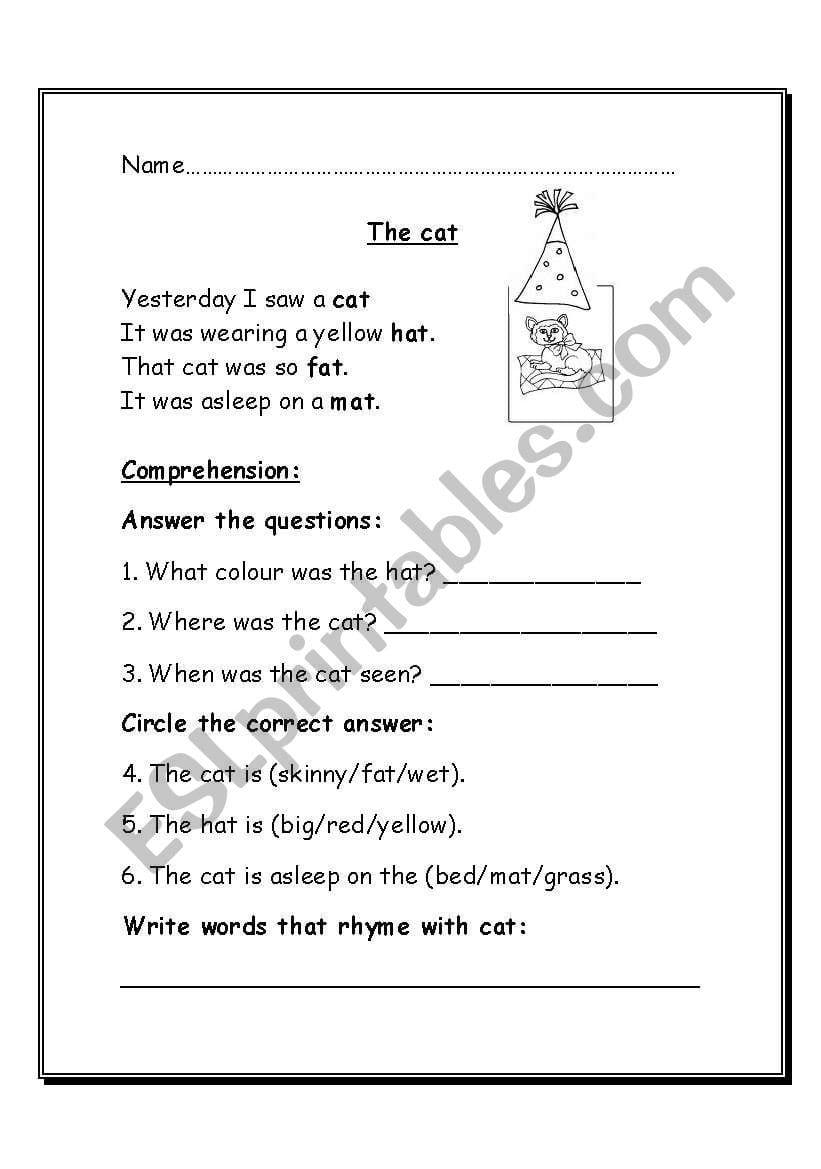 Poem Comprehension  Esl Worksheetkristyjak Within Poetry Comprehension Worksheets