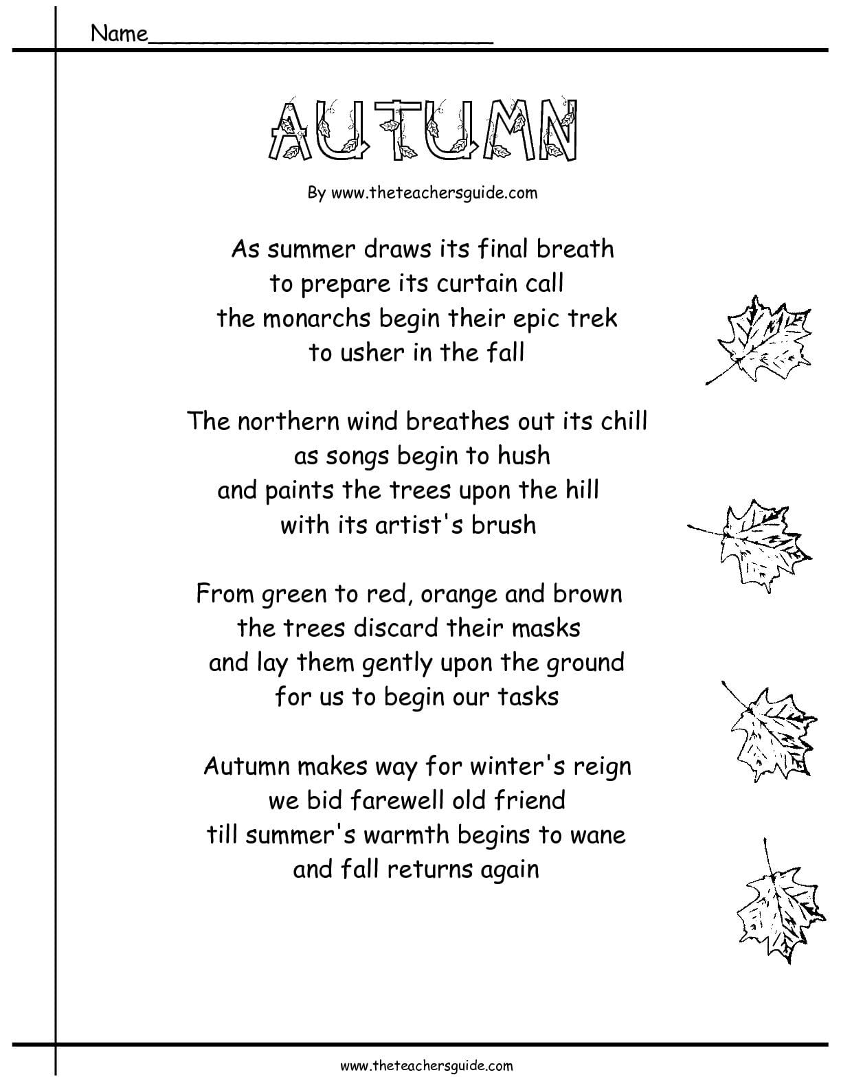 Poetry Comprehension Worksheets From The Teacher's Guide With Poetry Comprehension Worksheets