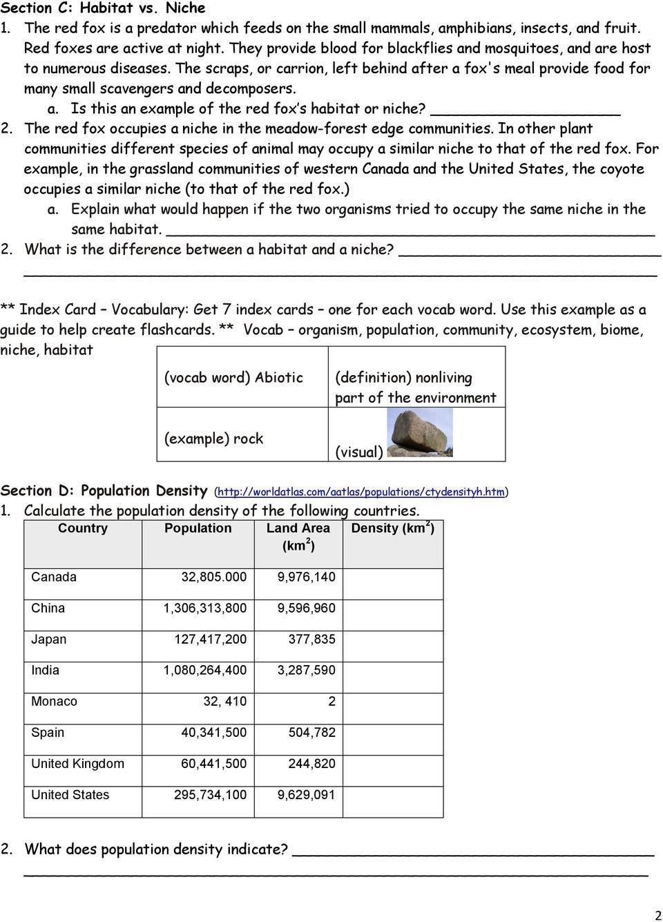Population Community  Ecosystem Worksheet  Pdf Pertaining To Population Community And Ecosystem Worksheet Answer Key