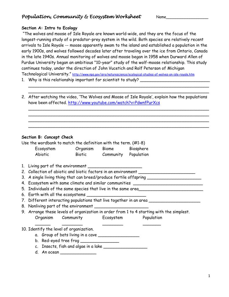 Population Community  Ecosystem Worksheet Within Population Community And Ecosystem Worksheet Answer Key