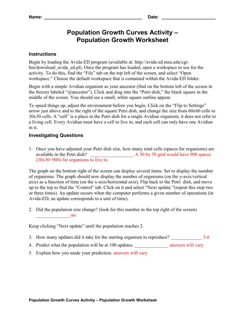 Population Growth Worksheet Answers — excelguider.com