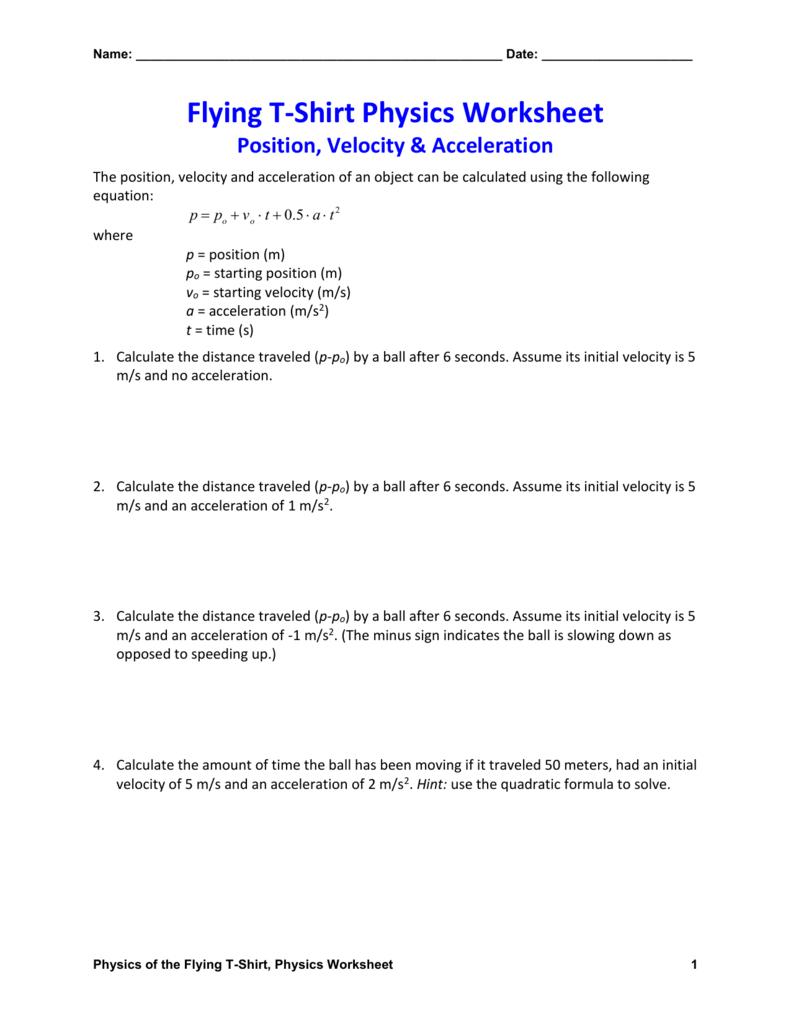 Position Velocity  Acceleration Physics Worksheet Intended For Velocity Acceleration Worksheets