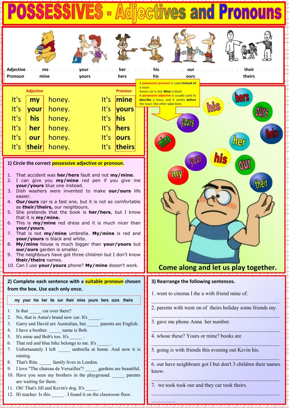 Possessives  Adjectives And Pronouns  Interactive Worksheet Within Worksheet 2 Possessive Adjectives Spanish Answers