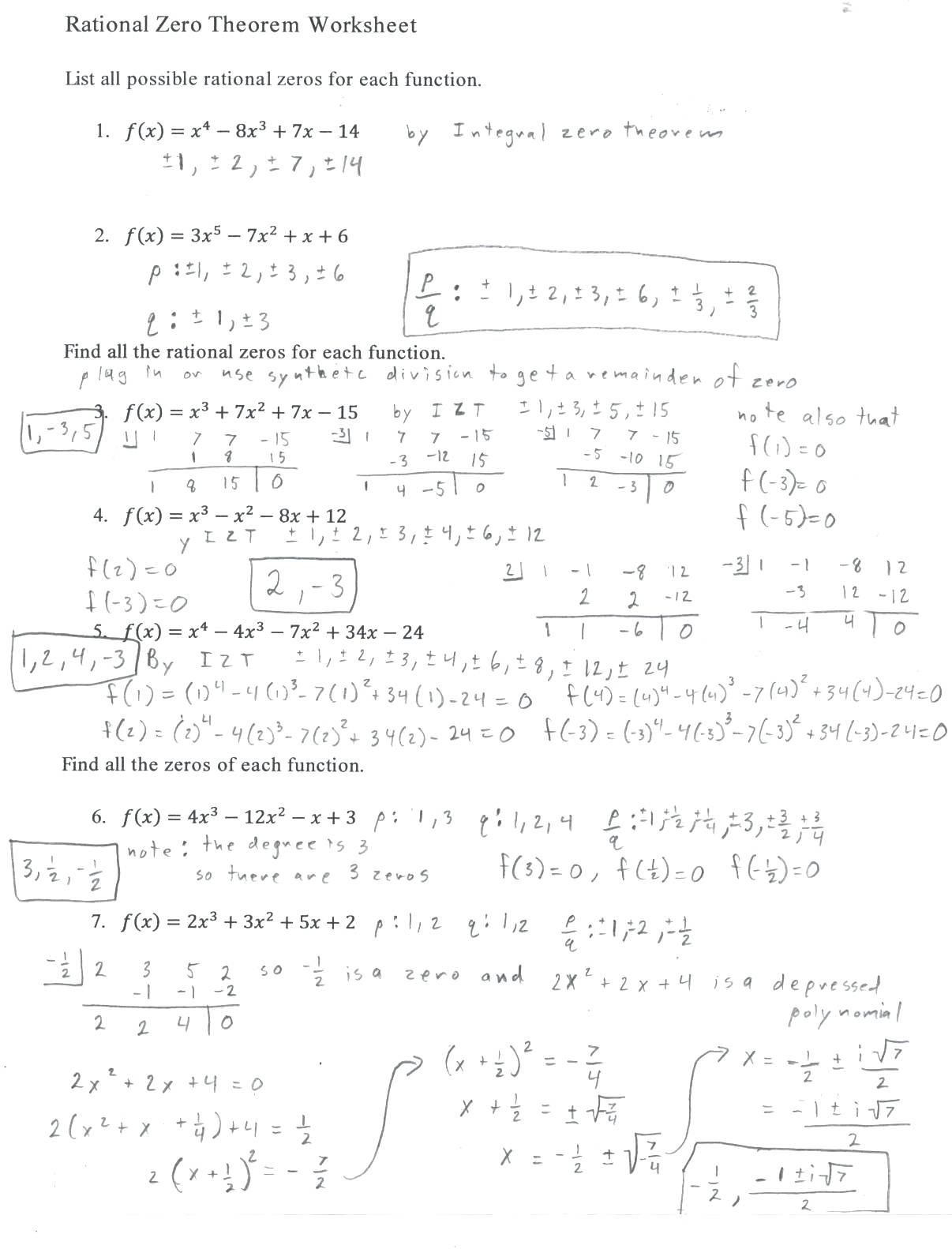 Possible Rational Zero Math Worksheet Worksheet Answers Rational Within Polynomial And Rational Functions Worksheet Answers