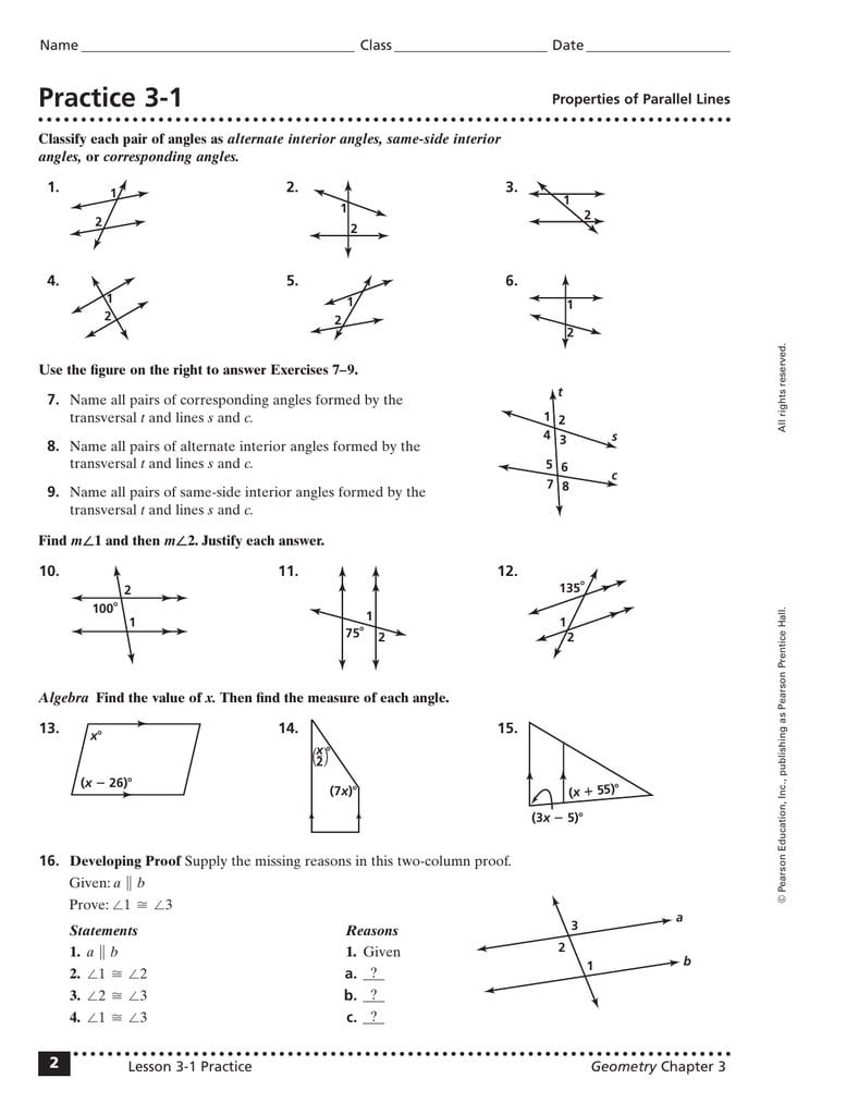 Practice 31 Throughout 3 2 Angles And Parallel Lines Worksheet Answers