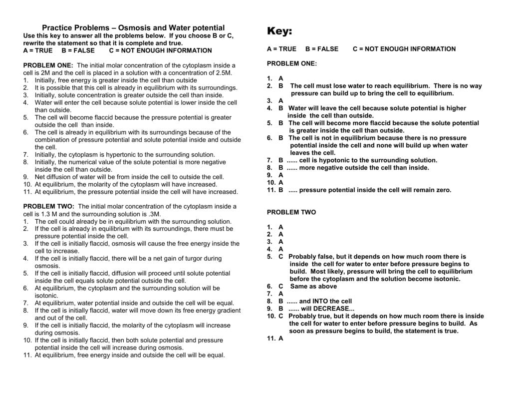Practice Problems – Osmosis And Water Potential Throughout Water Potential And Osmosis Worksheet Answers