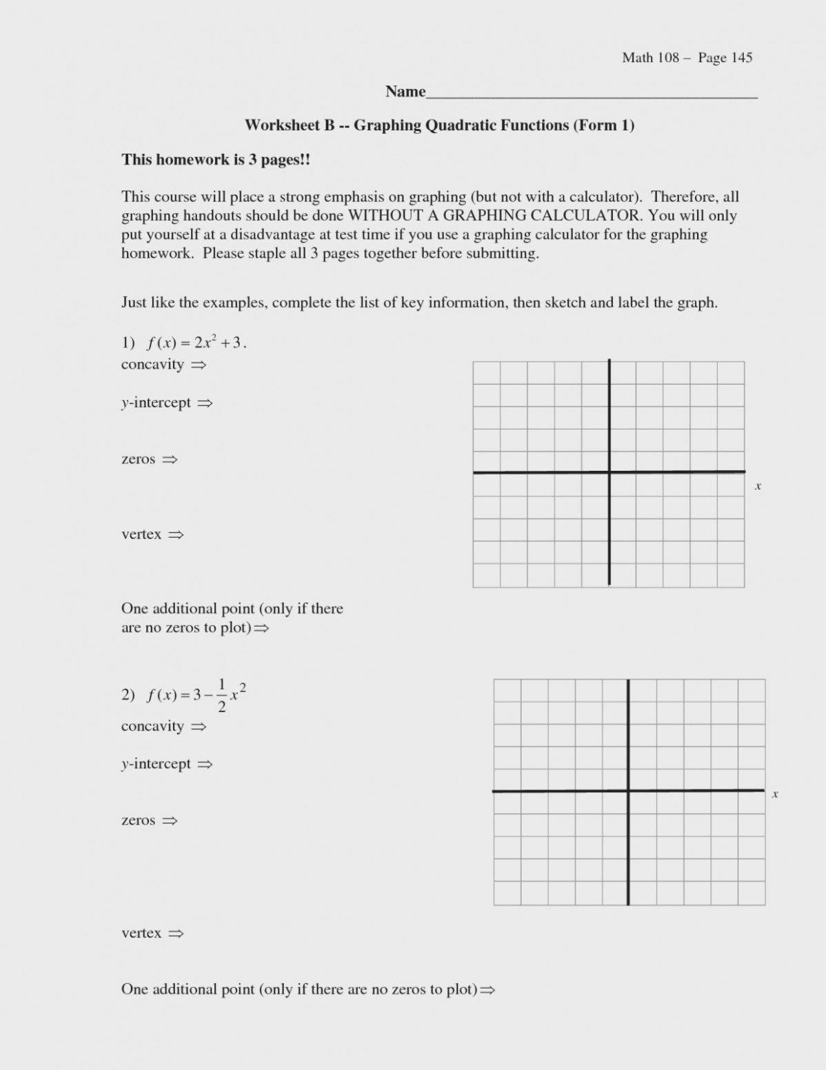 Practice Worksheet Graphing Quadratic Functions In Standard Form The For Graphing Practice Worksheet