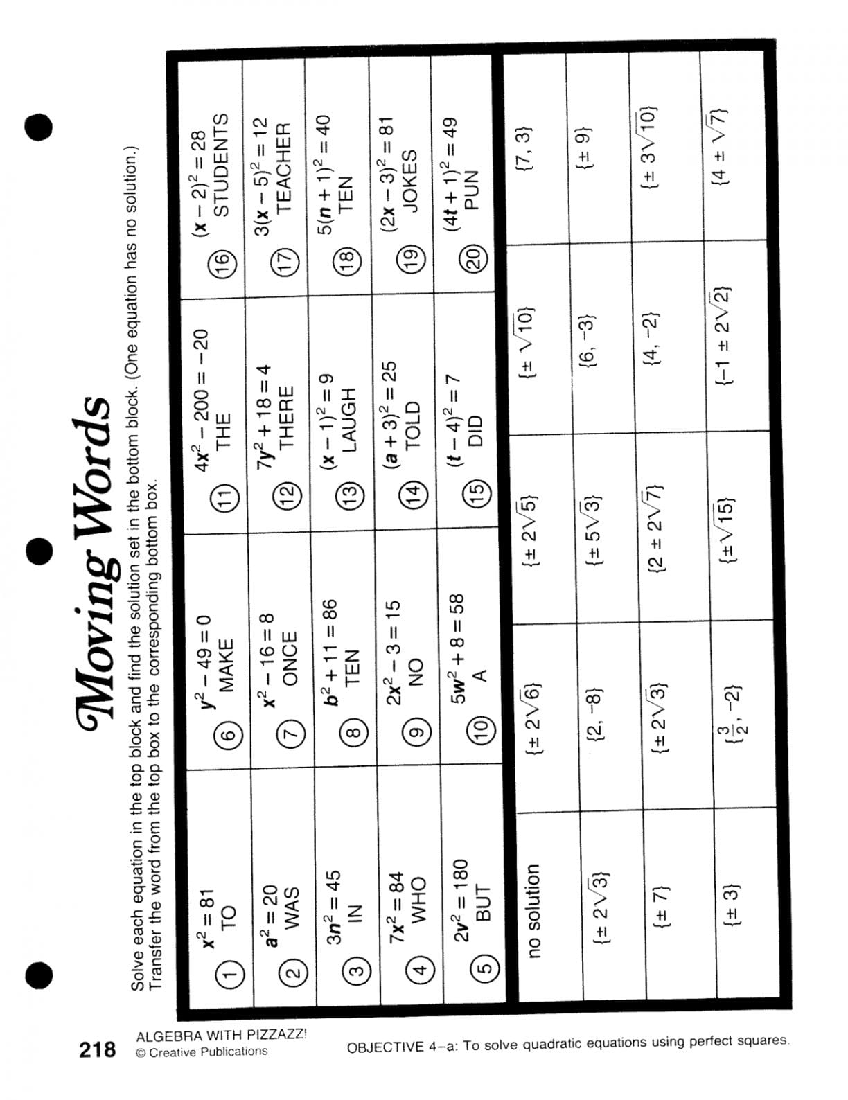 Pre Algebra Special Activities Book Answers  Justswimfl And Moving Words Worksheet