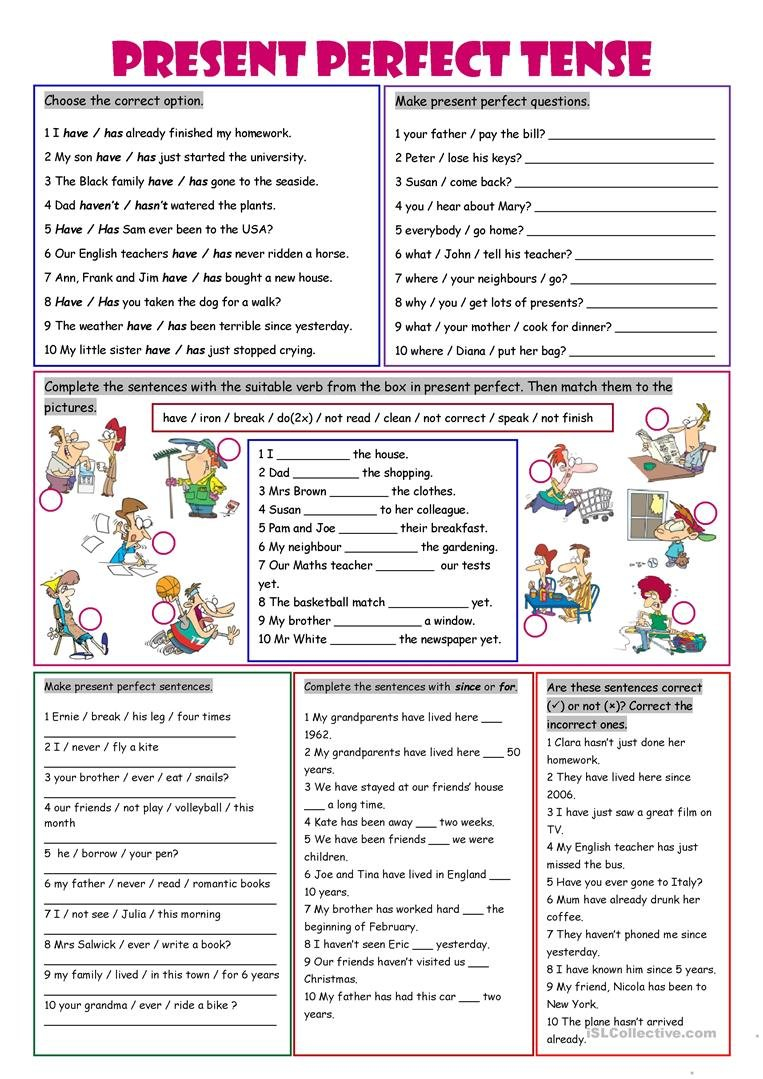 Present Perfect Tense Worksheet  Free Esl Printable Worksheets Made Intended For Present Perfect Tense Exercises Worksheet