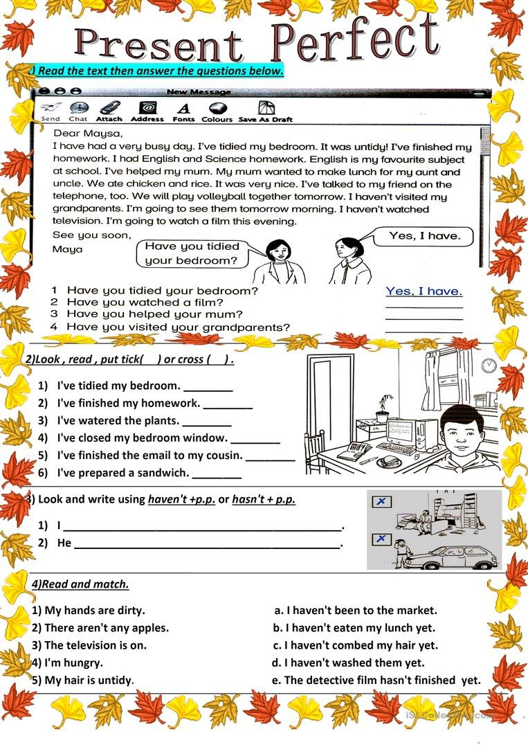 Present Perfect Worksheet  Free Esl Printable Worksheets Made Intended For Present Perfect Tense Exercises Worksheet