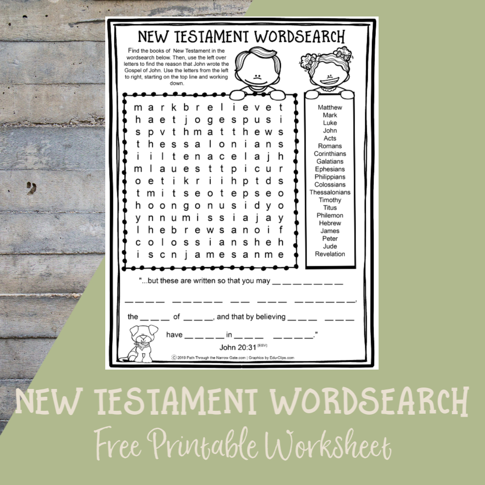 Printable Bible Activities Archives  Path Through The Narrow Gate Intended For Books Of The Bible Printable Worksheets
