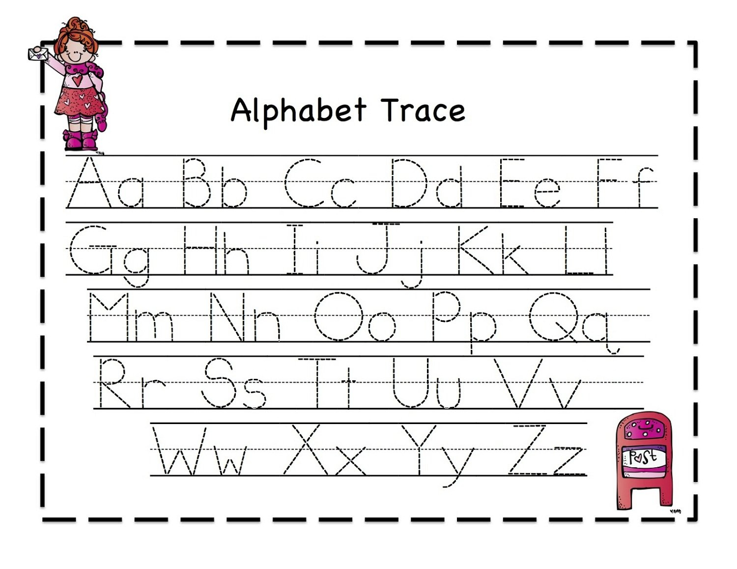 Printable Letter To Trace  Activity Shelter Within Free Printable Tracing Alphabet Worksheets