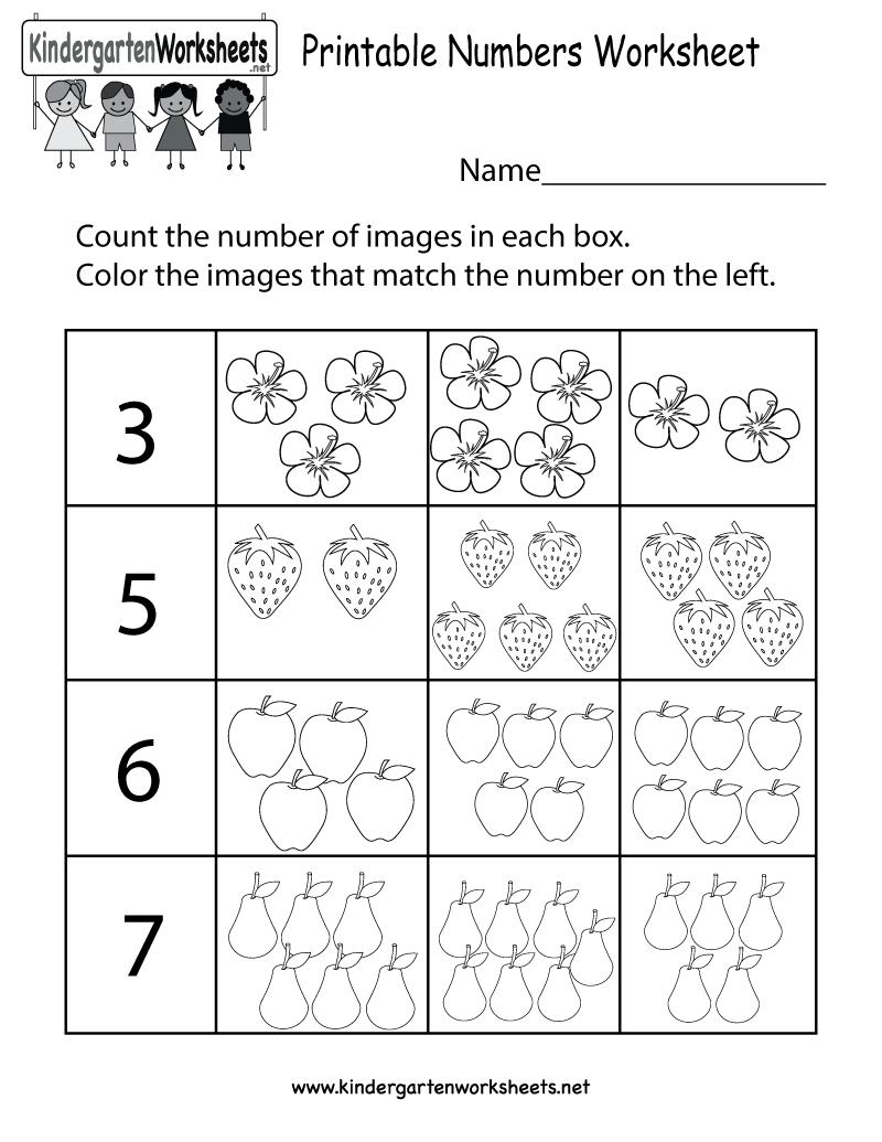 Printable Numbers Worksheet  Free Kindergarten Math Worksheet For Kids Within Number Worksheets For Kindergarten