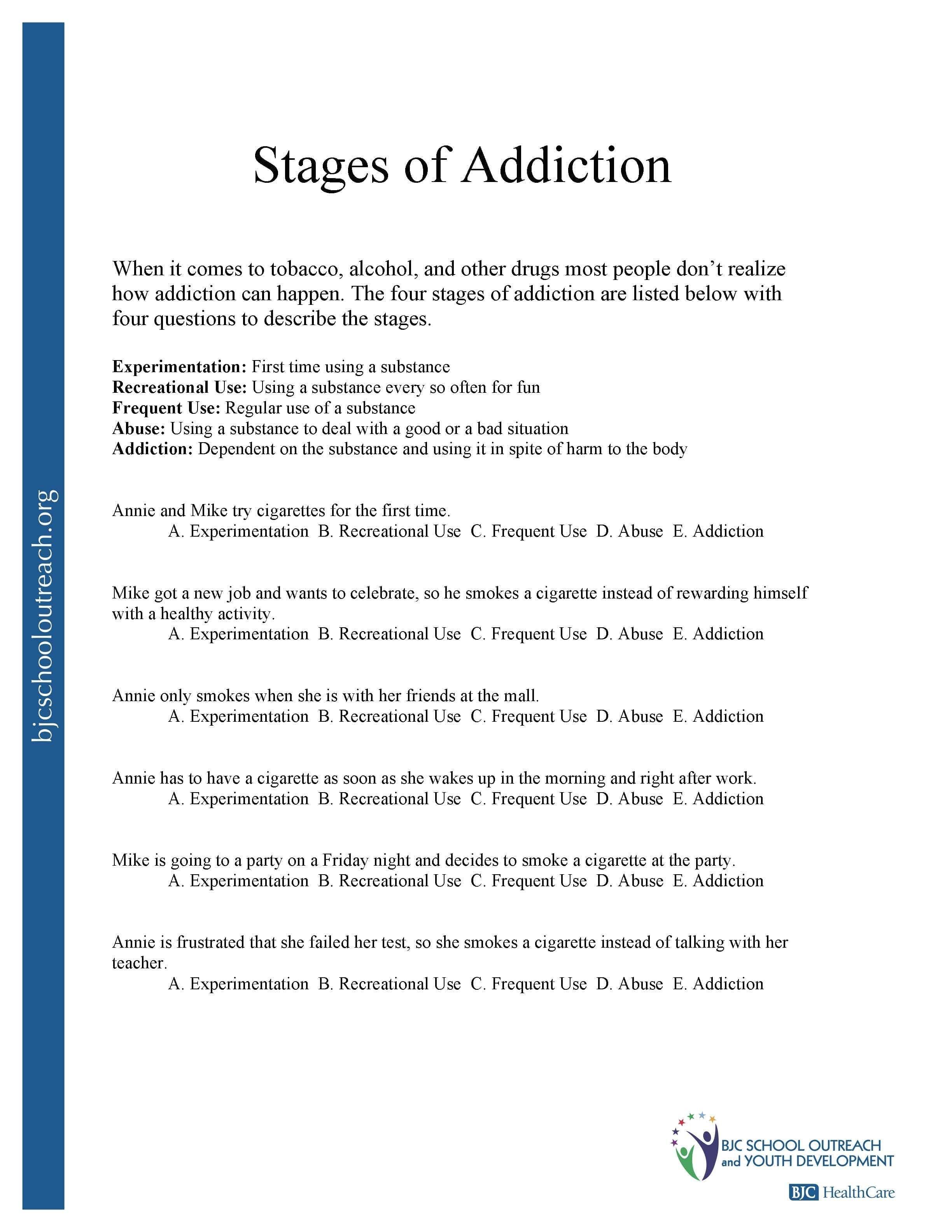 Printable Worksheets Or Substance Abuse Worksheets For Adults Pdf