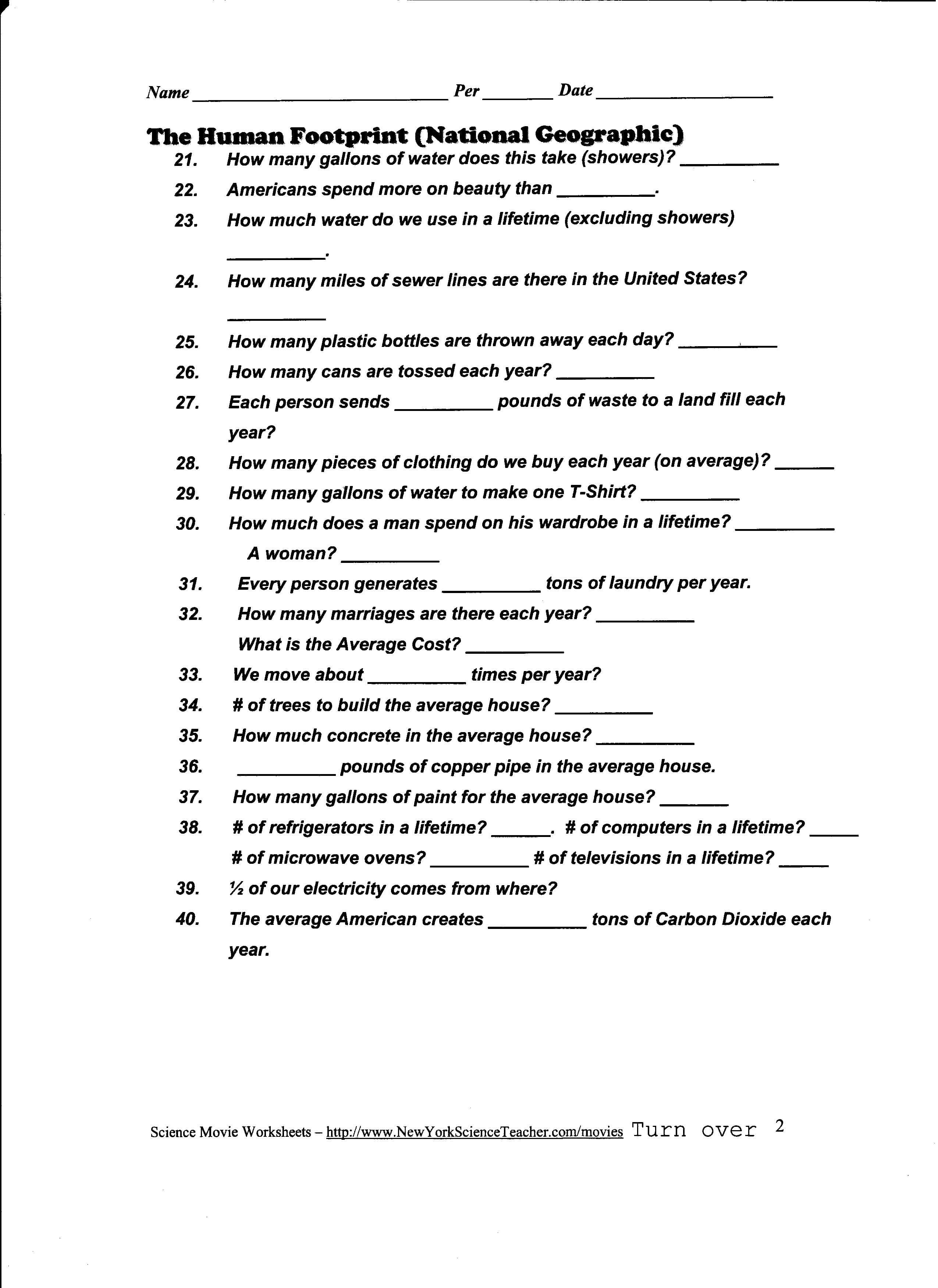 Printables Ecological Footprint Worksheet Lemonlilyfestival Inside Ecological Footprint Worksheet Answers