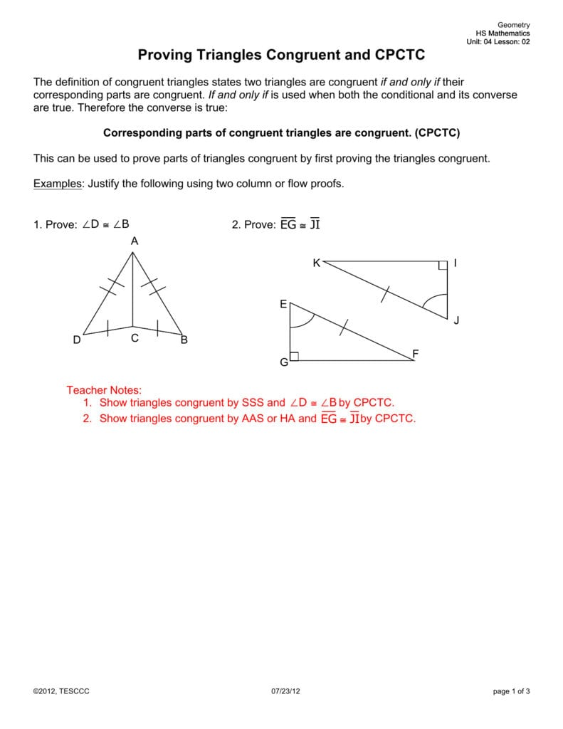 Proving Triangles Congruent And Cpctc Within Cpctc Proofs Worksheet With Answers