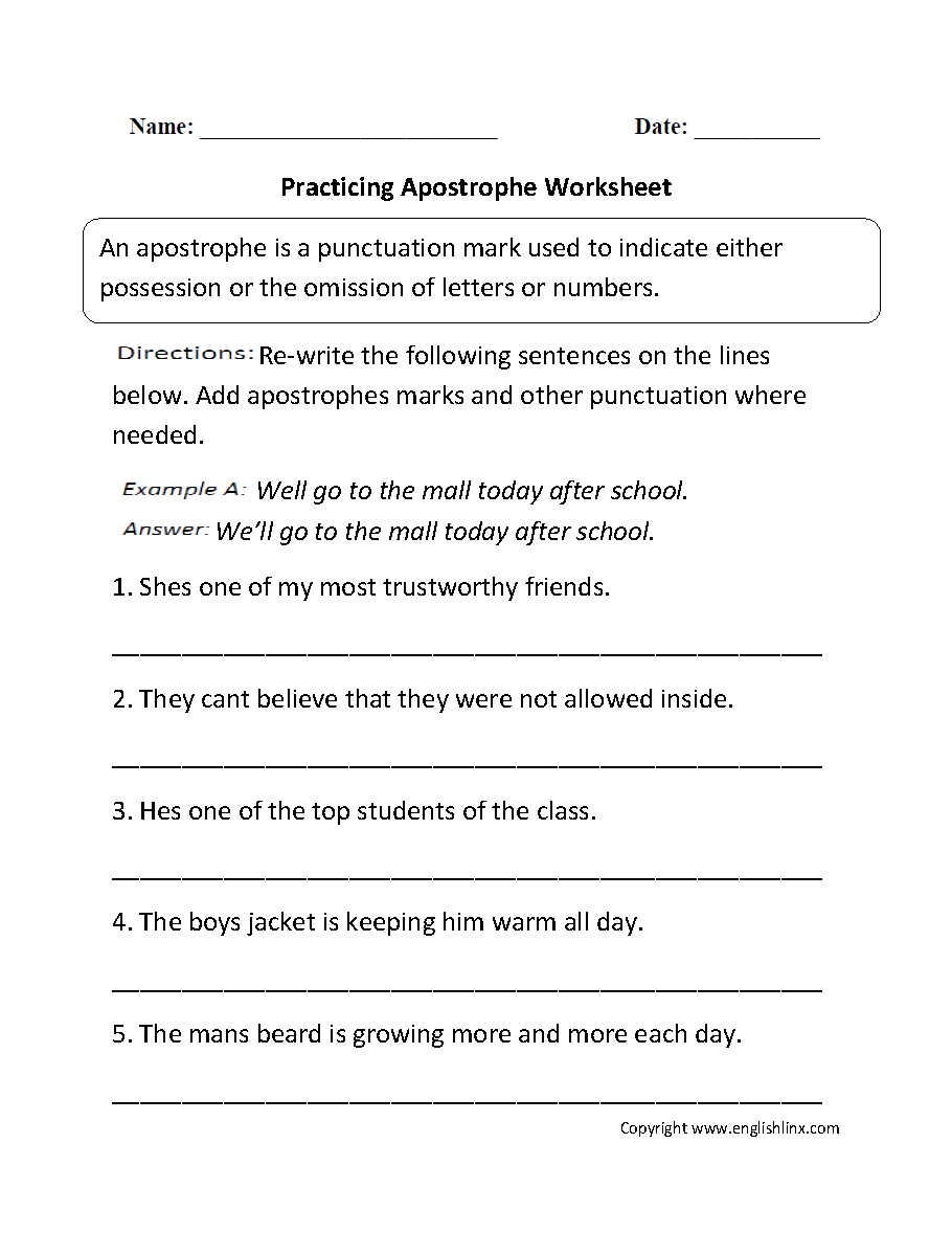 Punctuation Worksheets  Apostrophe Worksheets Together With Punctuation Practice Worksheets With Answers