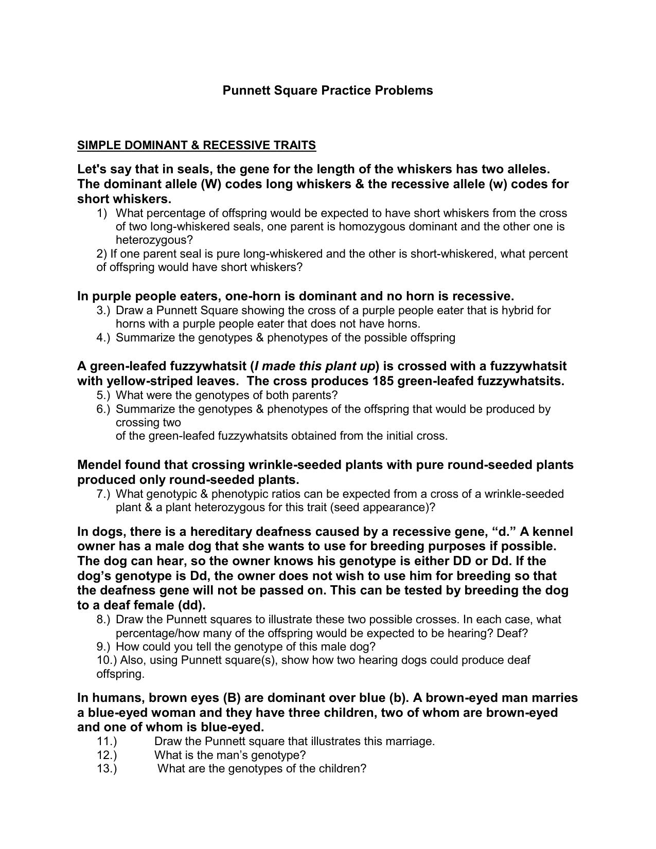 Punnett Square Practice Problems Intended For Punnett Square Practice Problems Worksheet