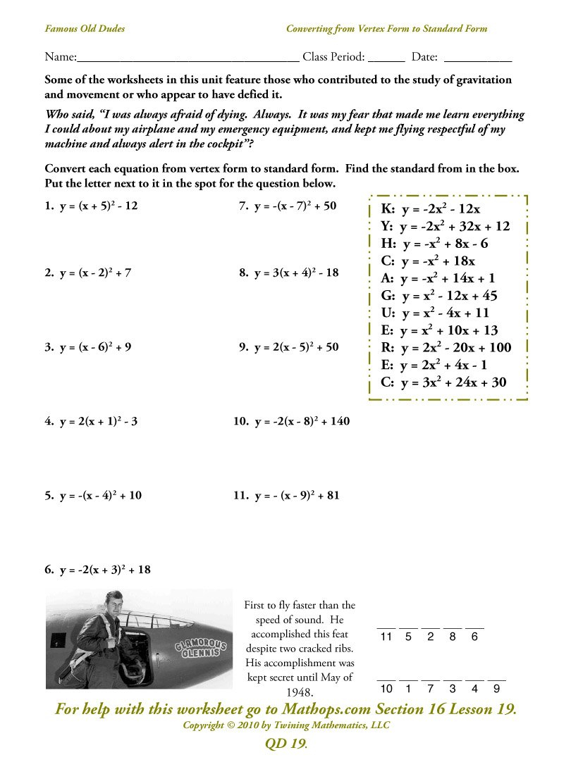 Qd 23 Imaginary Numbers  Mathops Also Standard Form To Vertex Form Worksheet