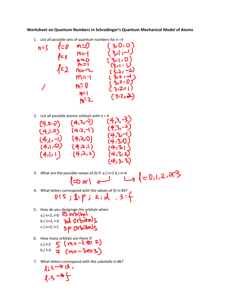 Quantum Numbers Worksheet I Answers Inside Quantum Numbers Practice Worksheet
