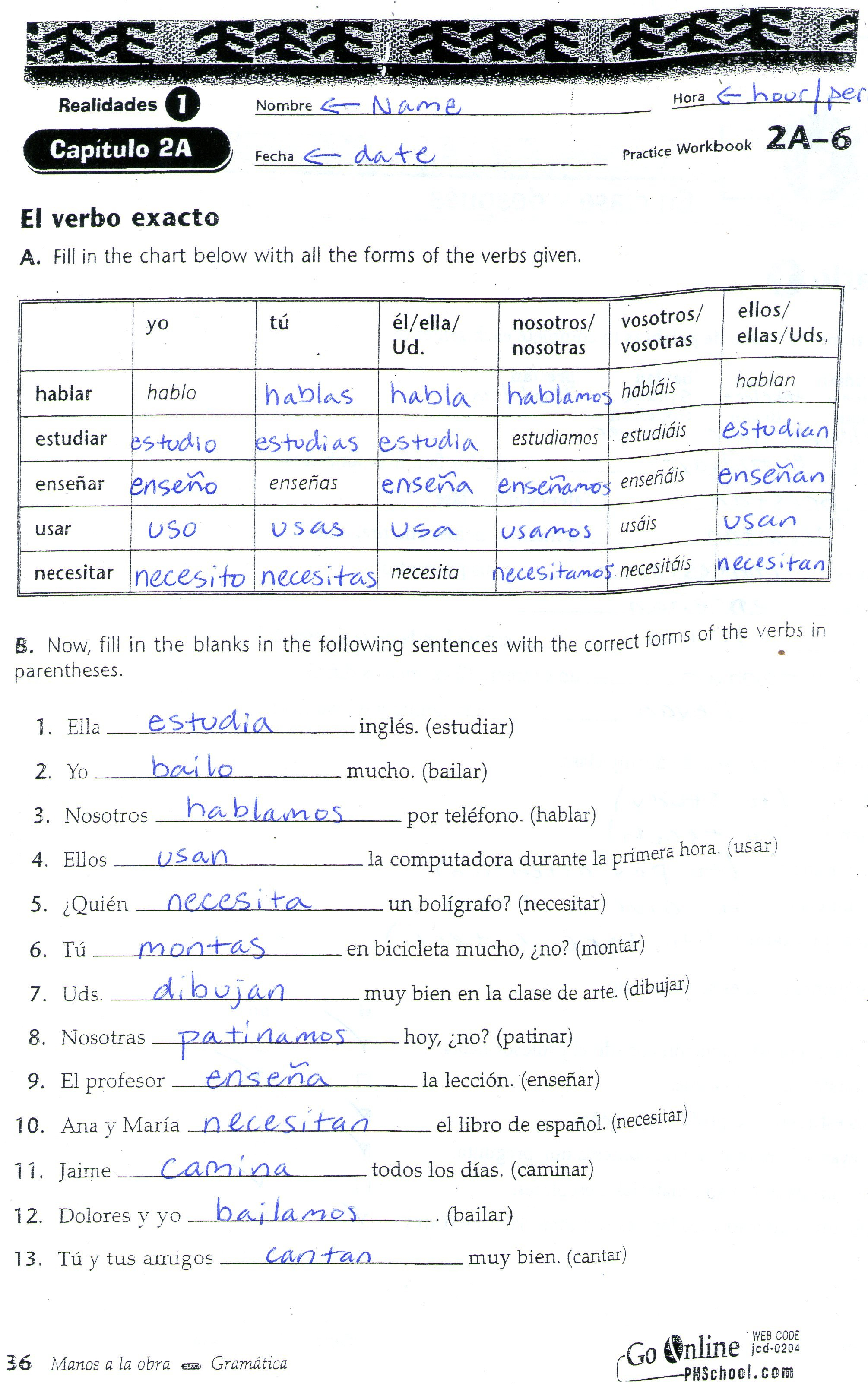 Quia  Class Page  20142015 With El Verbo Ser Worksheet Answers