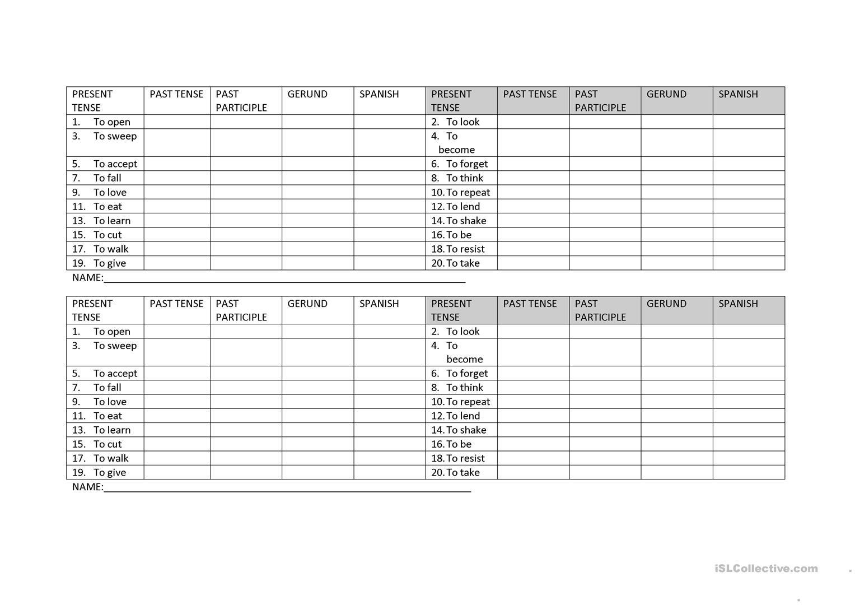 Quiz Tenses Worksheet  Free Esl Printable Worksheets Madeteachers In Past Participle Spanish Worksheet