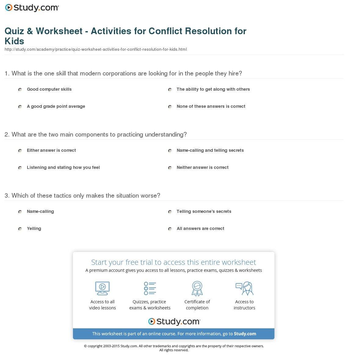 Quiz  Worksheet  Activities For Conflict Resolution For Kids For Conflict Resolution Worksheets