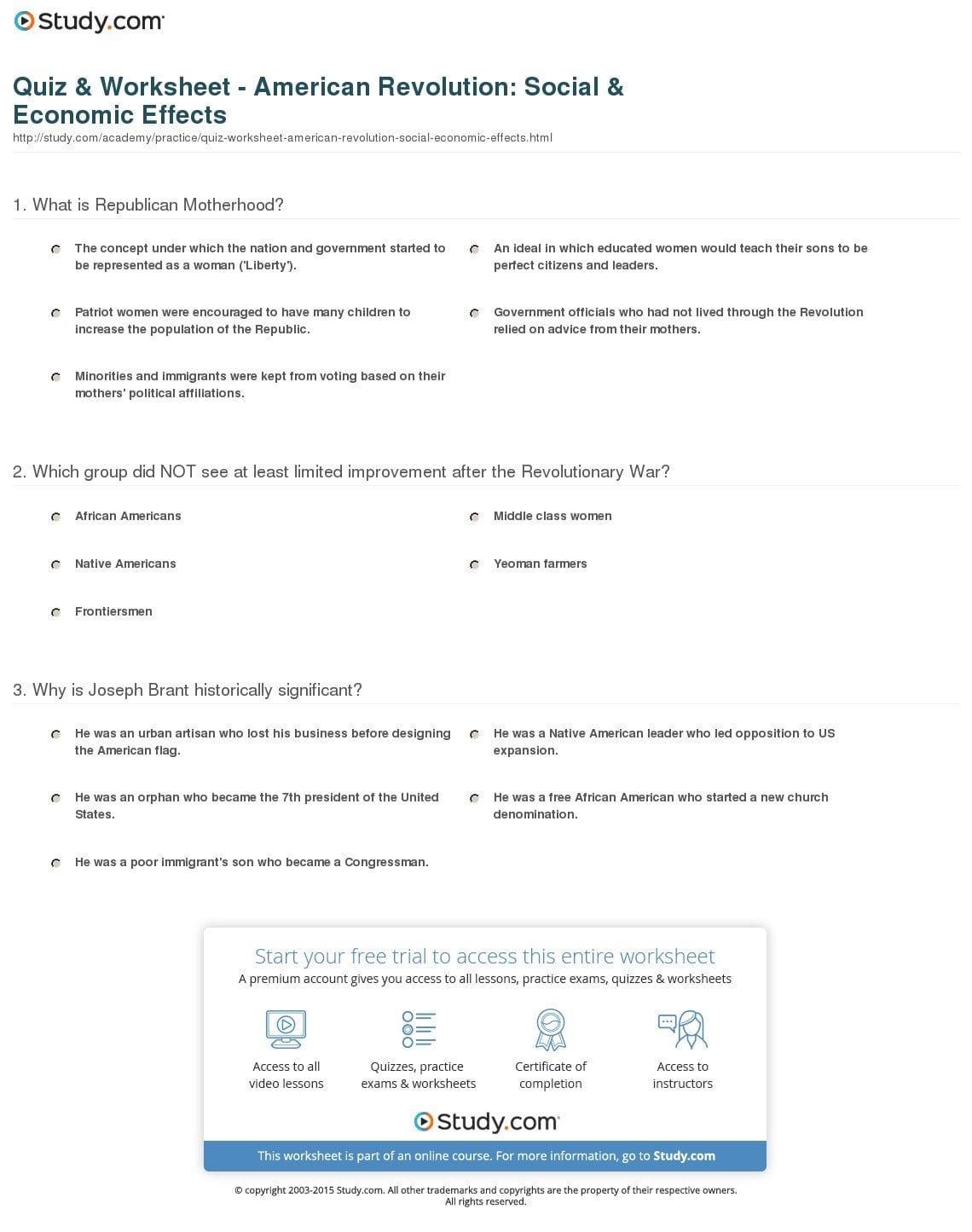 Quiz  Worksheet  American Revolution Social  Economic Effects Pertaining To American Revolution Worksheets