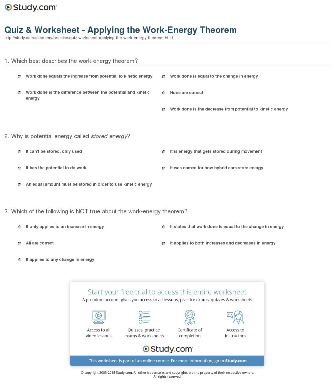 Quiz  Worksheet  Applying The Workenergy Theorem  Study With Work Power Energy Worksheet