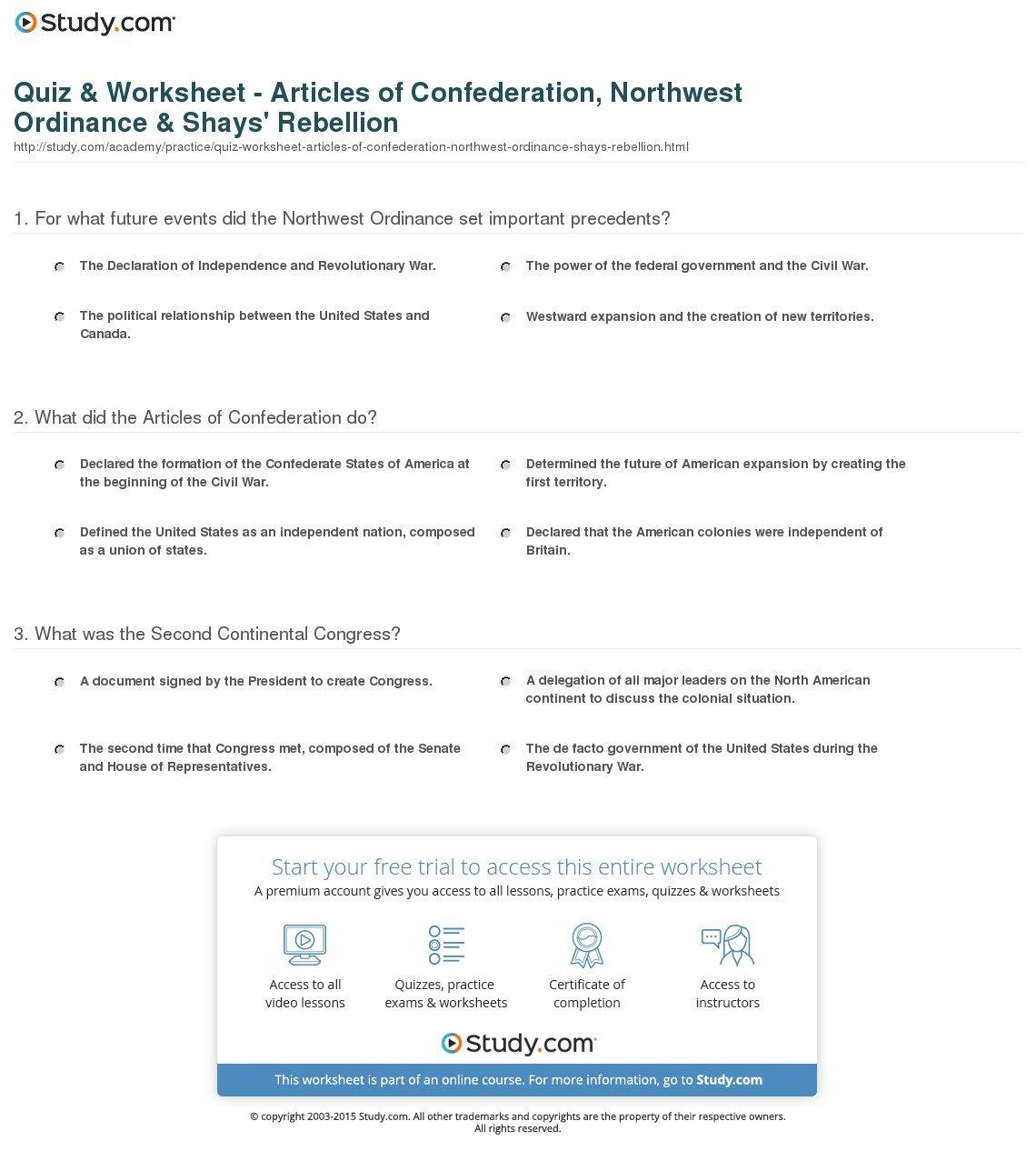 Quiz  Worksheet  Articles Of Confederation Northwest Ordinance Regarding Articles Of Confederation Worksheet Middle School