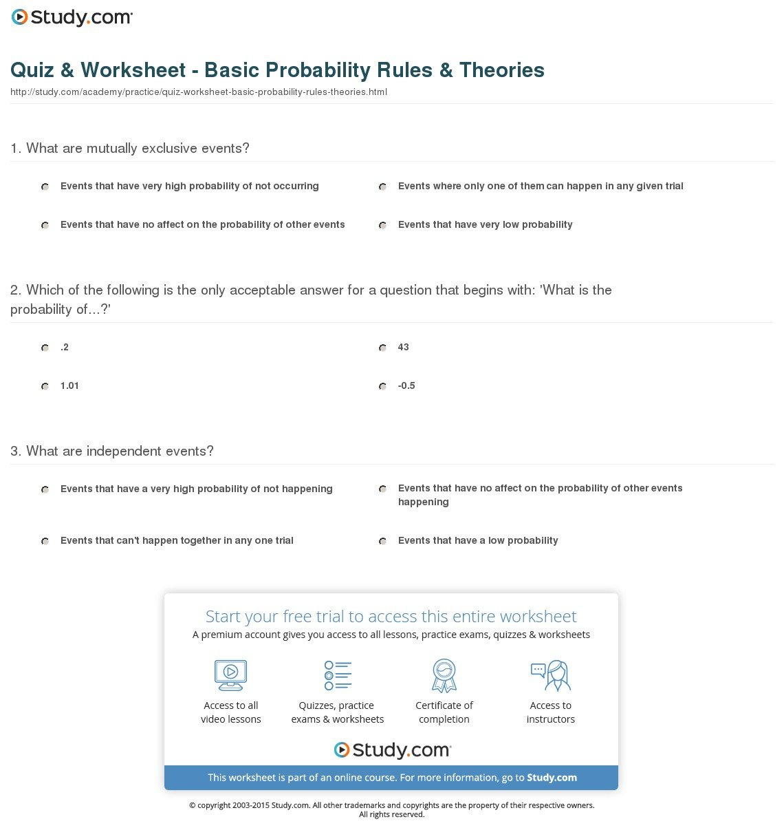 Quiz  Worksheet  Basic Probability Rules  Theories  Study Together With Probability Review Worksheet