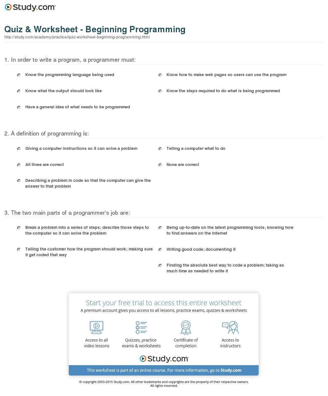 Quiz  Worksheet  Beginning Programming  Study With Regard To Coding Worksheets Middle School