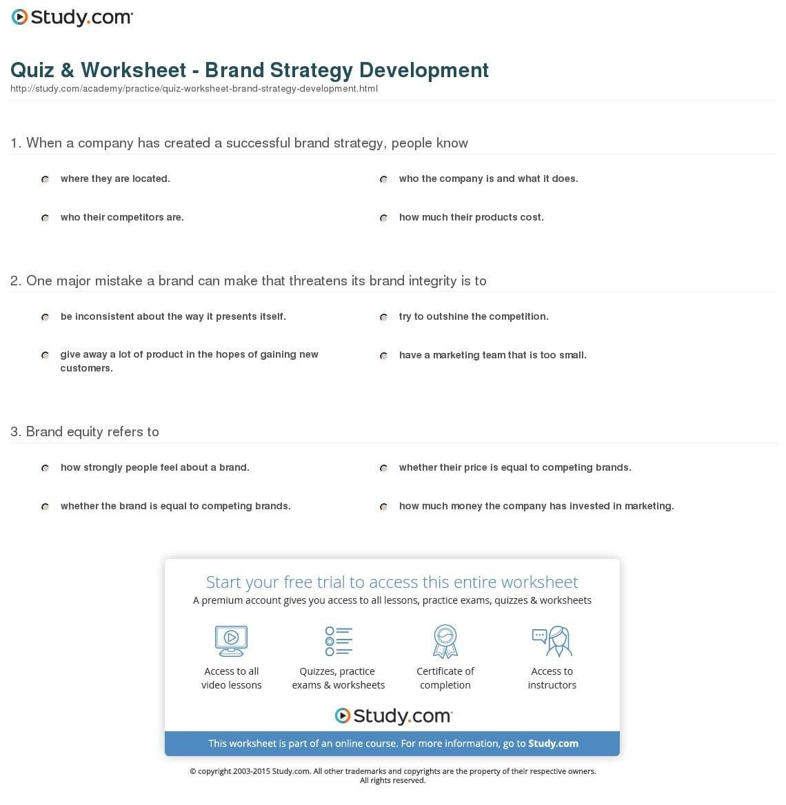 Quiz  Worksheet  Brand Strategy Development  Study For Brand Development Worksheet