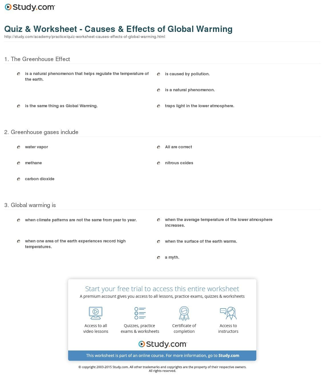 Quiz  Worksheet  Causes  Effects Of Global Warming  Study As Well As Global Warming Worksheet