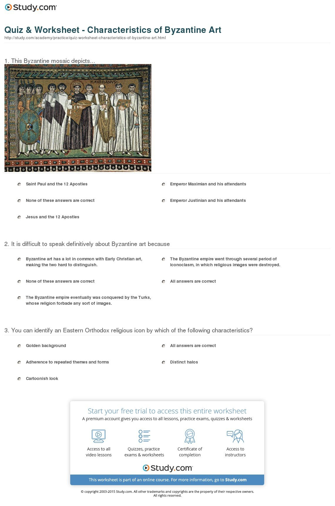 Quiz  Worksheet  Characteristics Of Byzantine Art  Study Intended For The Byzantines Engineering An Empire Worksheet Answers
