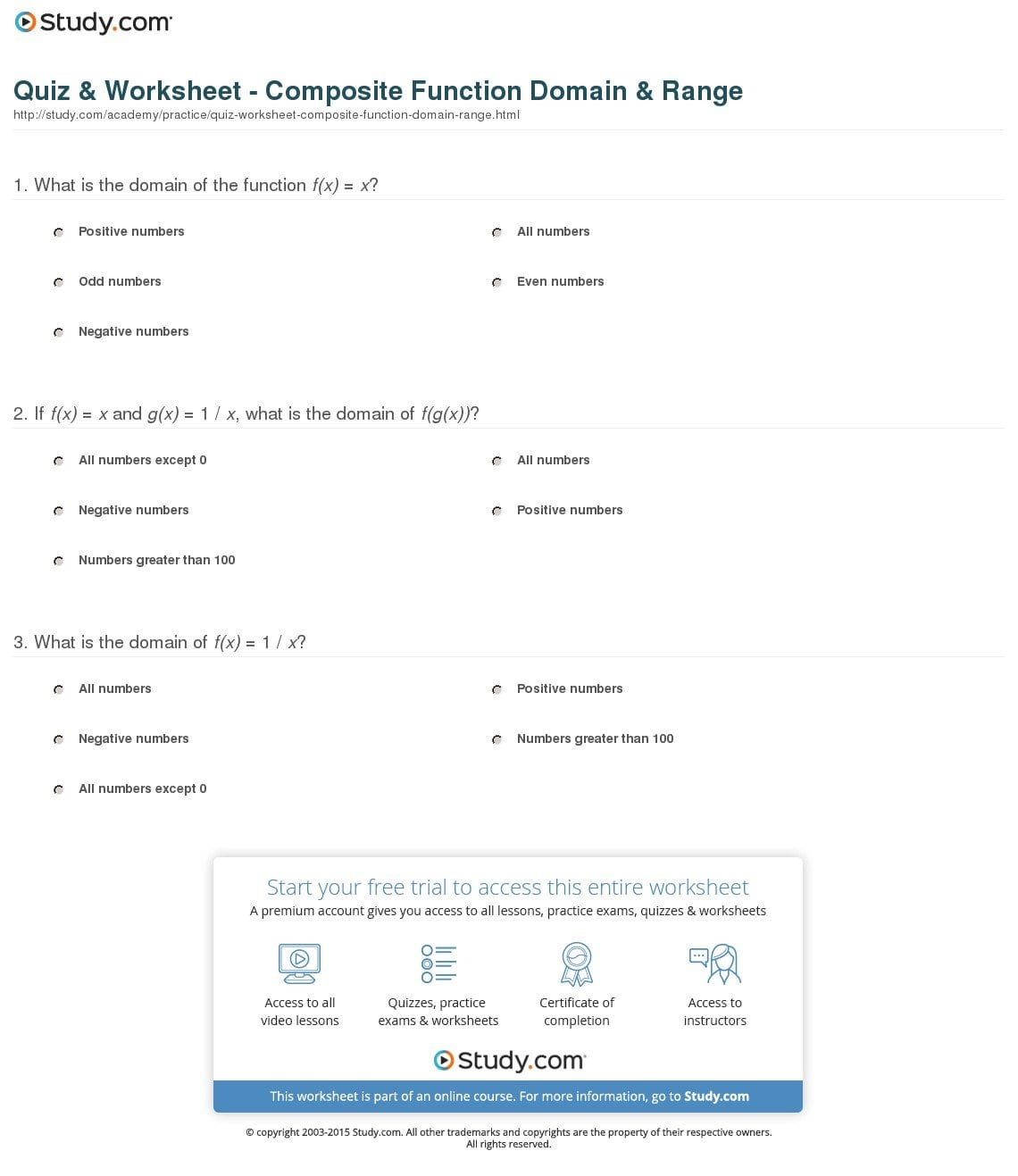 Quiz  Worksheet  Composite Function Domain  Range  Study With Pre Calculus Composite Functions Worksheet Answers