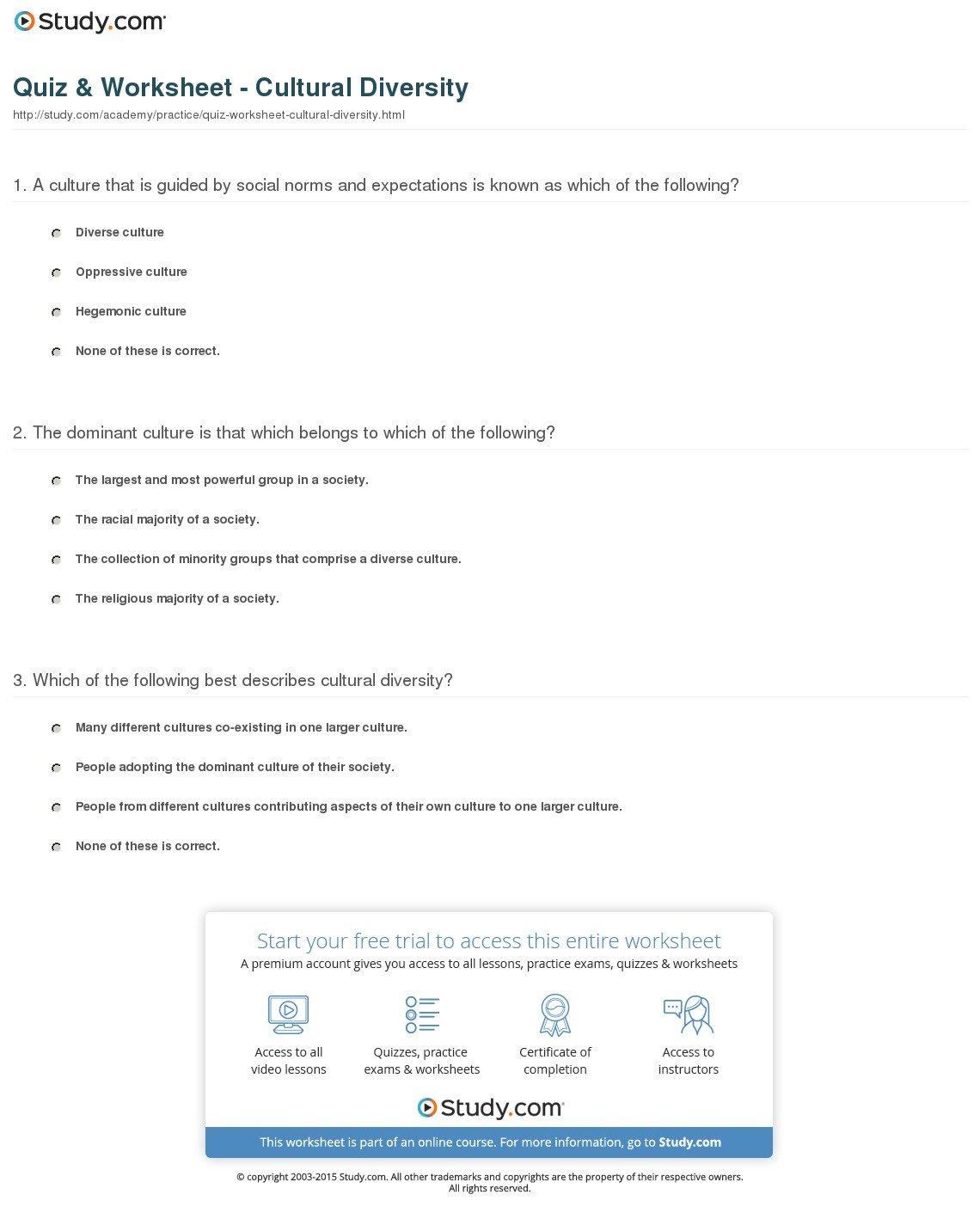 Quiz  Worksheet  Cultural Diversity  Study Or Diversity Worksheets For Middle School