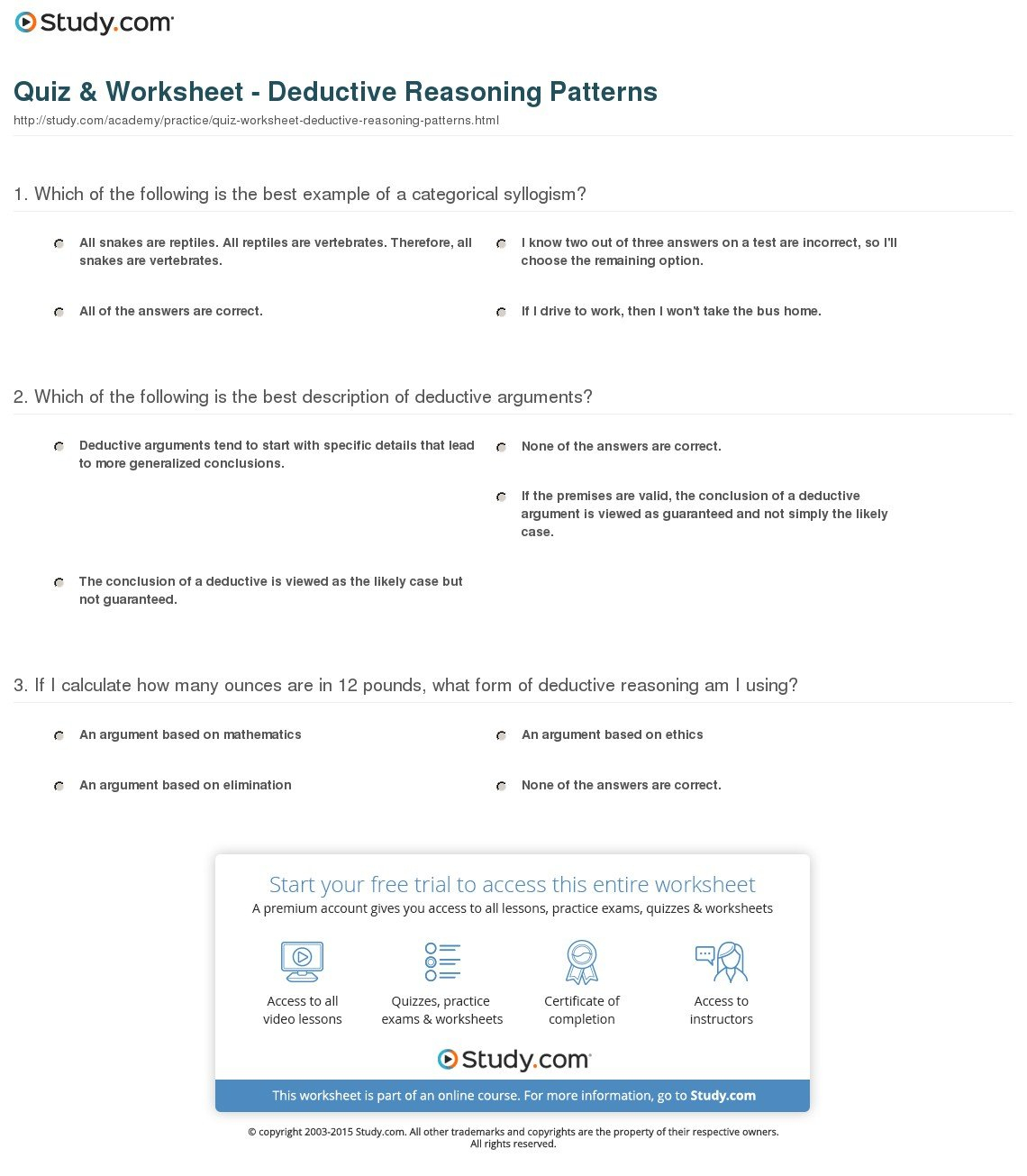 Quiz  Worksheet  Deductive Reasoning Patterns  Study In Patterns And Inductive Reasoning Worksheet And Answers