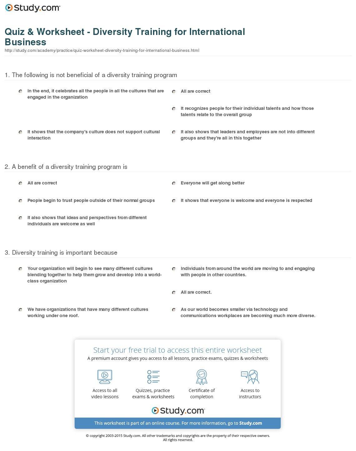 Quiz  Worksheet  Diversity Training For International Business And Diversity Worksheets For Middle School