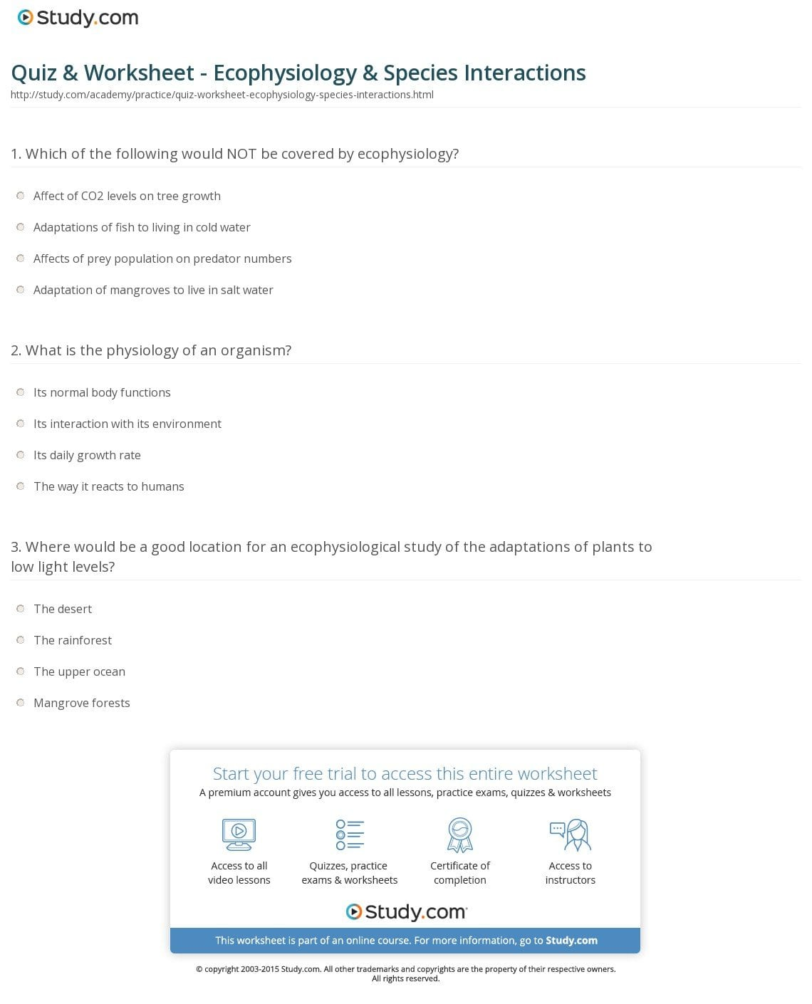 Quiz  Worksheet  Ecophysiology  Species Interactions  Study With Regard To Species Interactions Worksheet Answers
