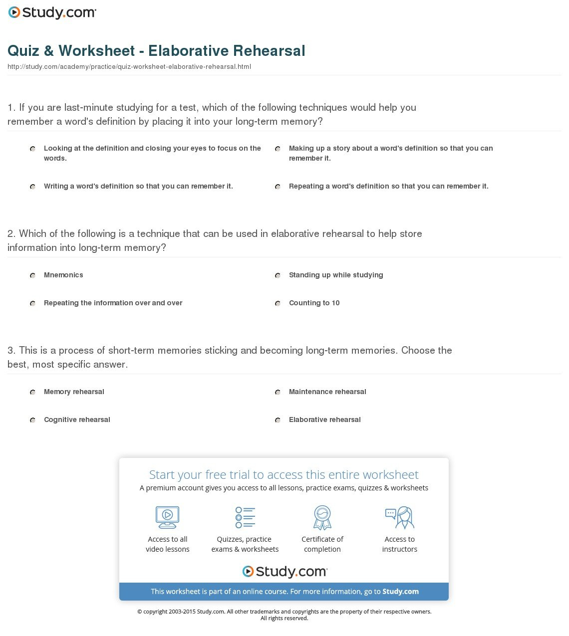 Quiz  Worksheet  Elaborative Rehearsal  Study Intended For Counting Techniques Worksheet