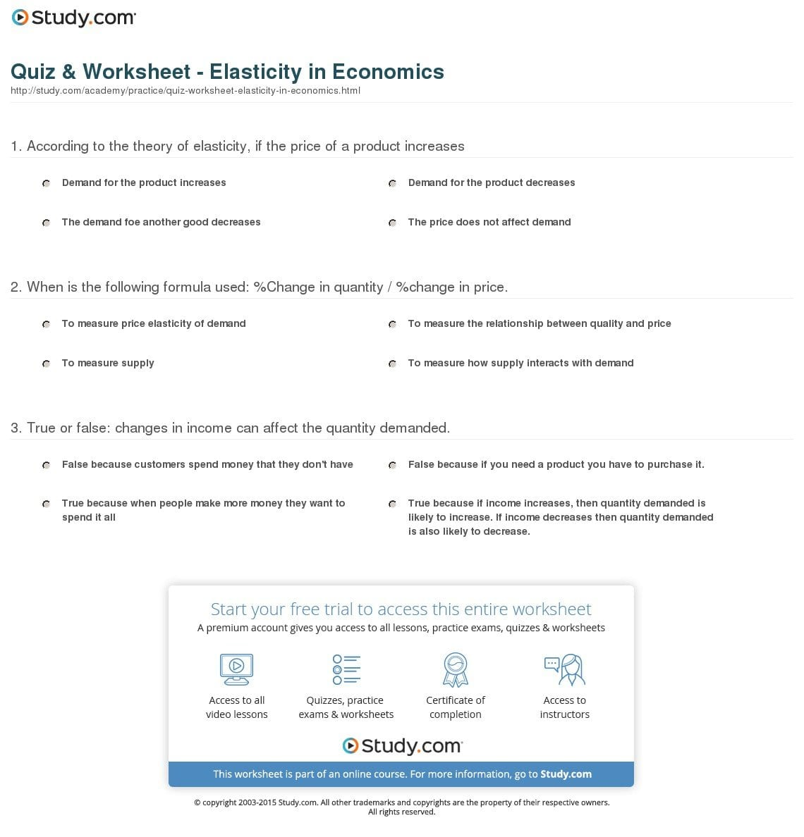 Quiz  Worksheet  Elasticity In Economics  Study Intended For Worksheet On Elasticity Answers