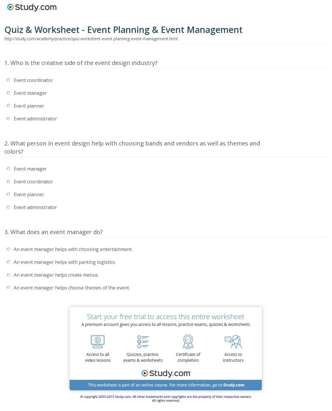 Quiz  Worksheet  Event Planning  Event Management  Study Pertaining To Event Planning Worksheet