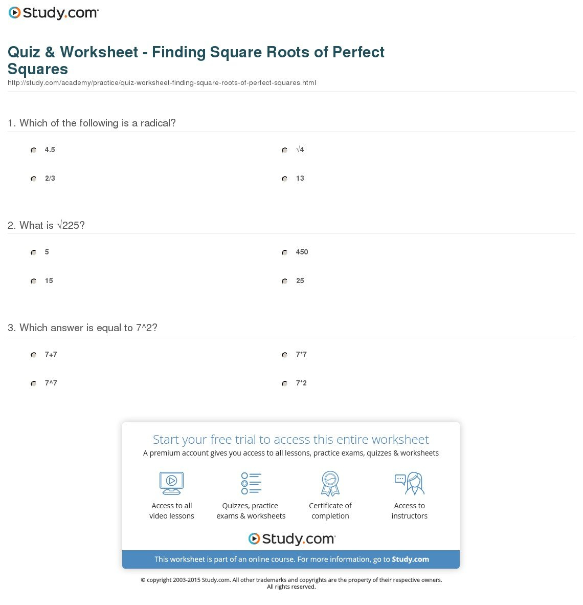 Quiz  Worksheet  Finding Square Roots Of Perfect Squares  Study With Regard To Square Roots Worksheet Answers