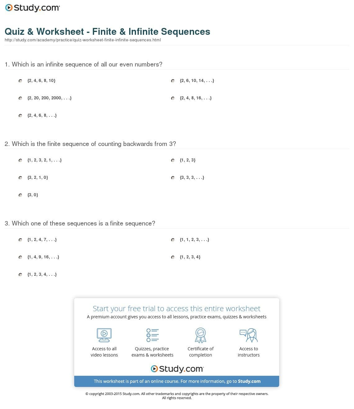 Quiz  Worksheet  Finite  Infinite Sequences  Study Inside Introduction To Sequences Worksheet