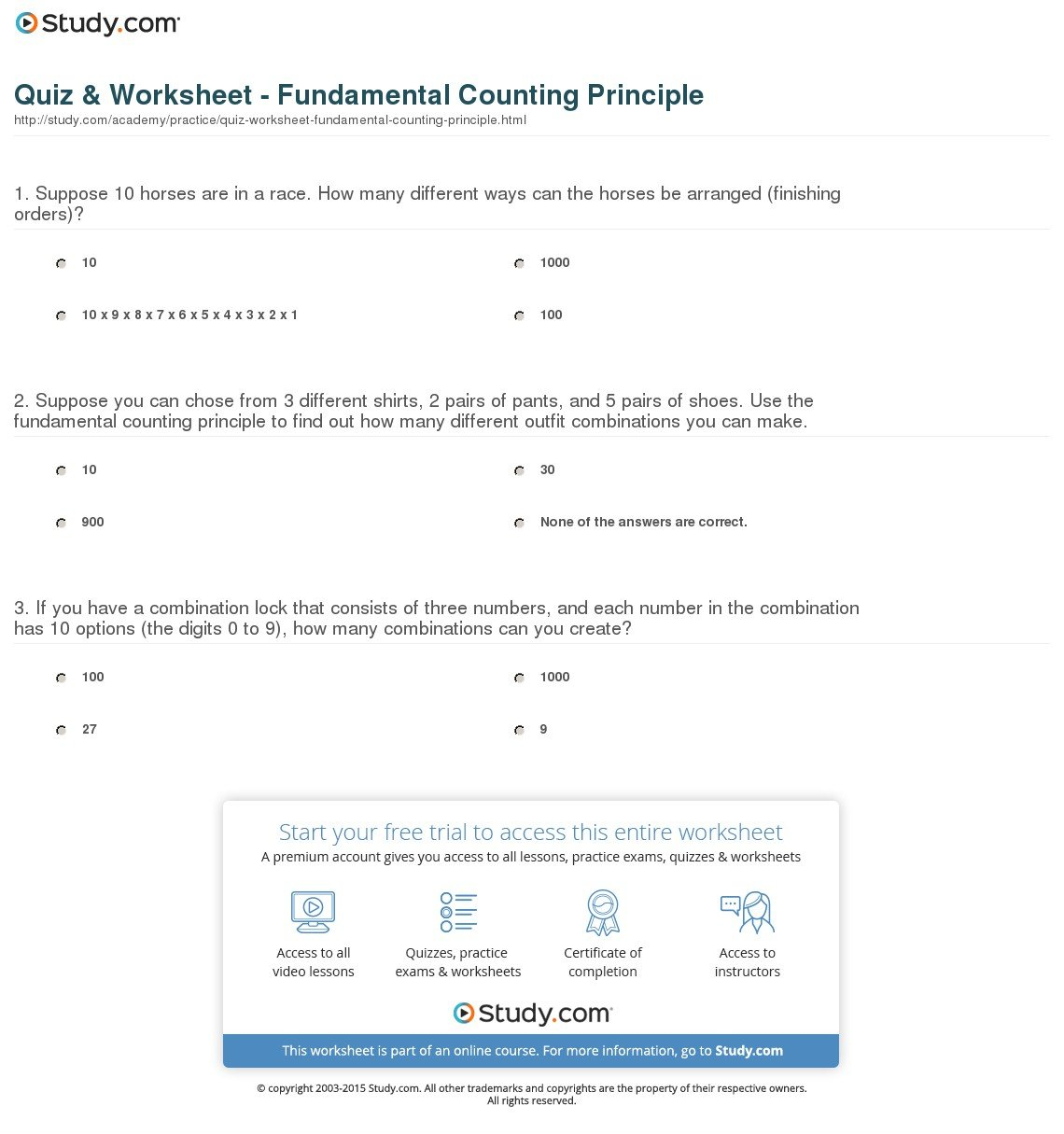Quiz  Worksheet  Fundamental Counting Principle  Study With Counting Techniques Worksheet